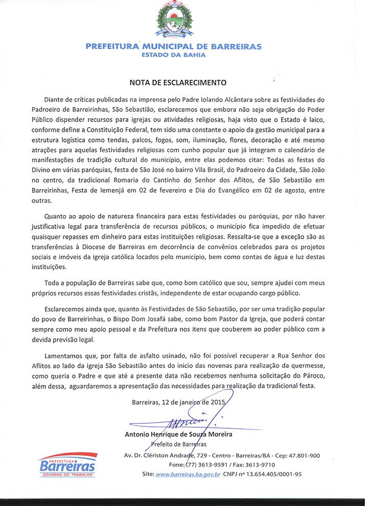 NOTA DE ESCLARECIMENTO - 12-01-2015