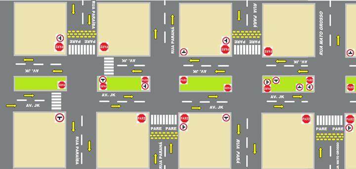 A partir de maio a Avenida JK será preferencial no cruzamento de 3 ruas centrais. Na imagem como  ficará o tráfego após a mudantexto
