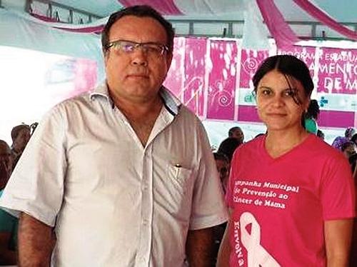 Prefeito Assuero de Oliveira e a secretária de Saúde Márcia Ramos FOTO: Reprodução